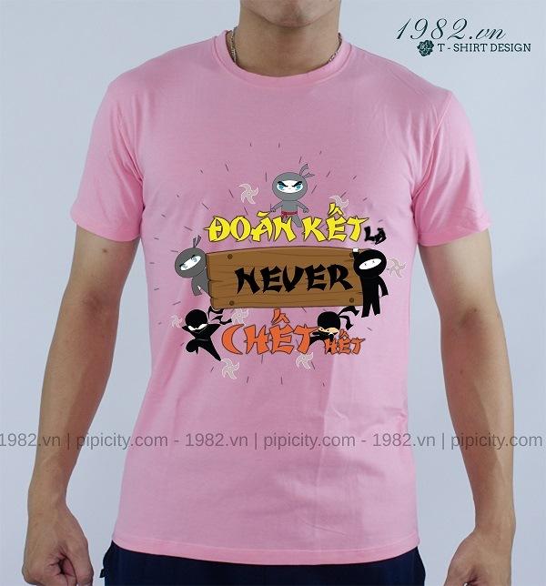 mẫu áo thun hồng in slogan hay