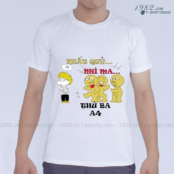mẫu áo thun lớp trắng slogan