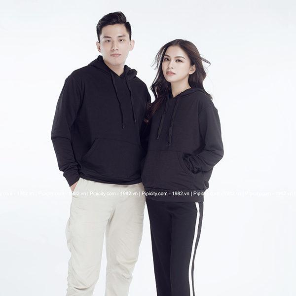 áo hoodie trơn đen