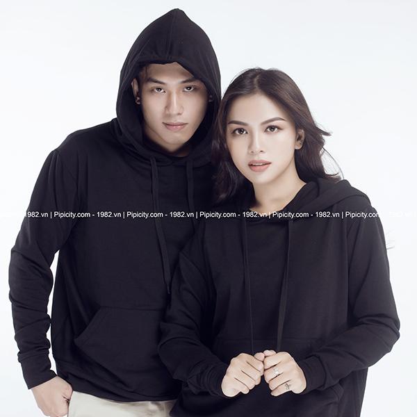 áo hoodie trơn màu đen
