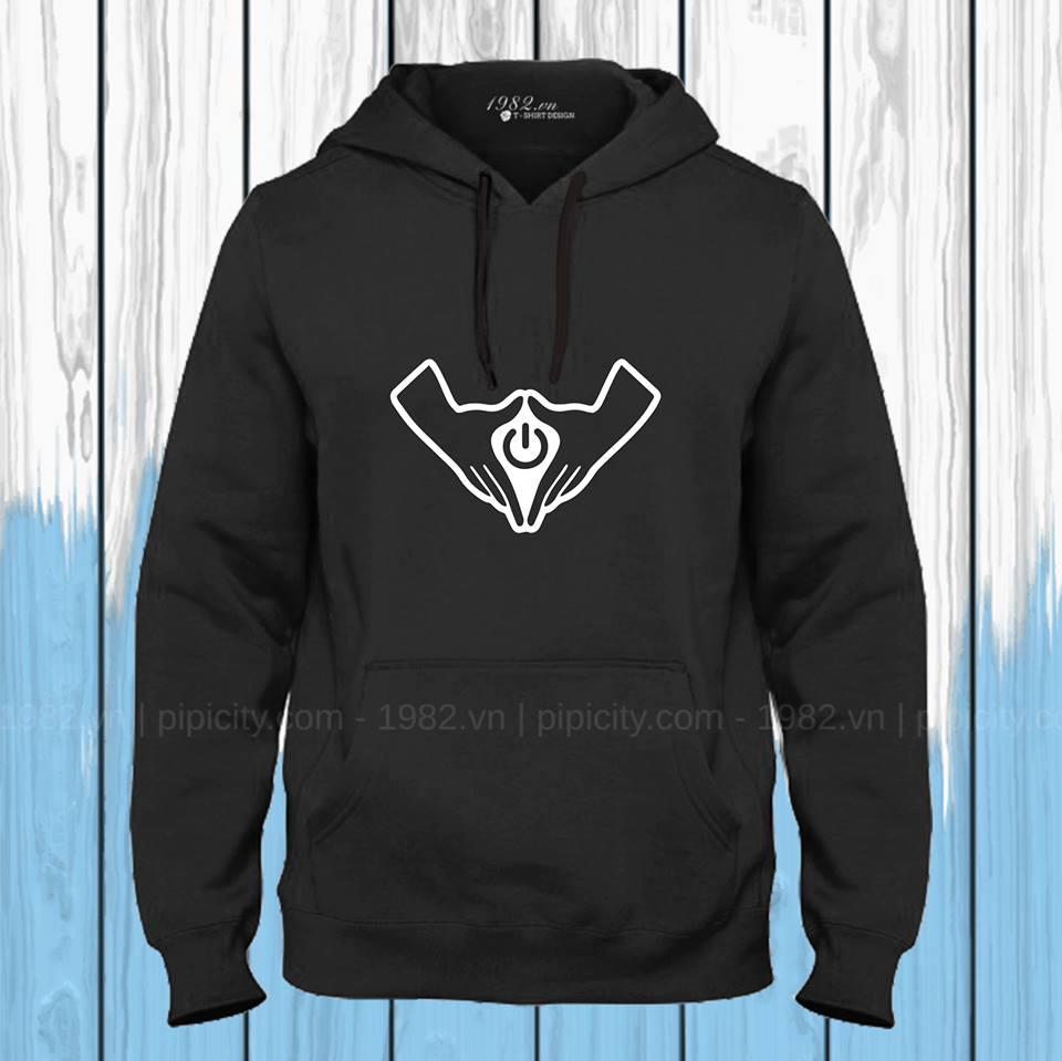 áo thun hoodie turn on đen
